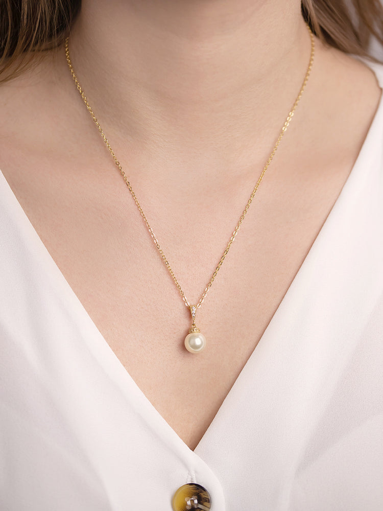 Load image into Gallery viewer, Classic Pearl Gold Pendant | Short
