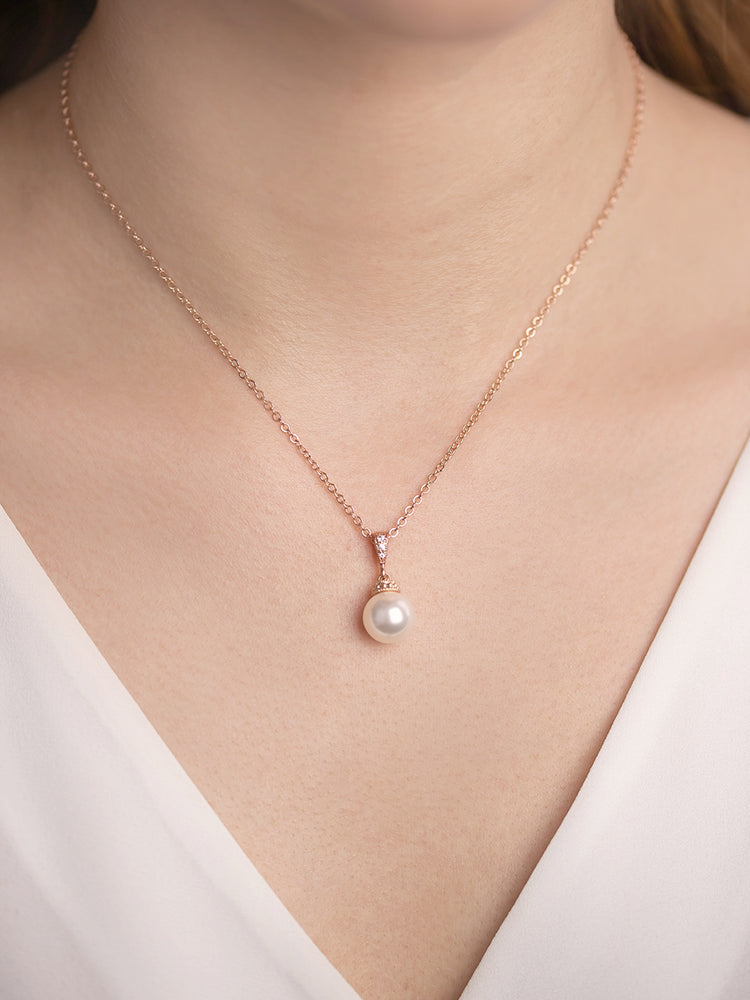 Classic Pearl Rose Gold Jewelry Set