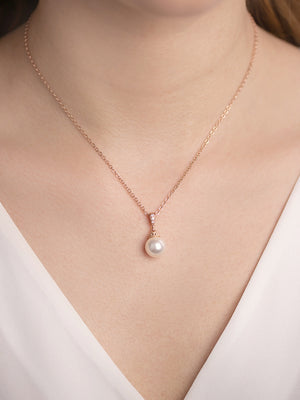 Load image into Gallery viewer, Classic Pearl Rose Gold Pendant | Short