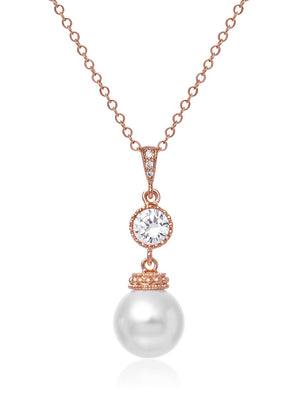 Load image into Gallery viewer, Classic Pearl Rose Gold Pendant | Medium