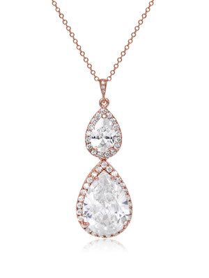 Load image into Gallery viewer, Vesta Double Teardrop Rose Gold Pendant