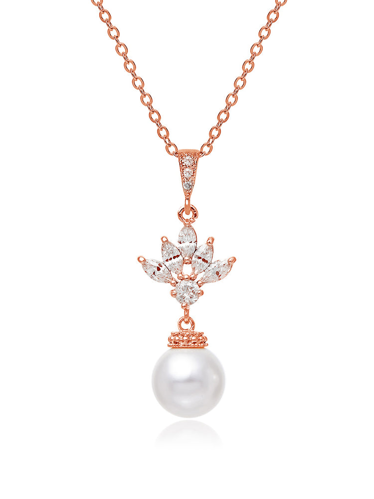 Load image into Gallery viewer, Eliana Pearl Rose Gold Pendant