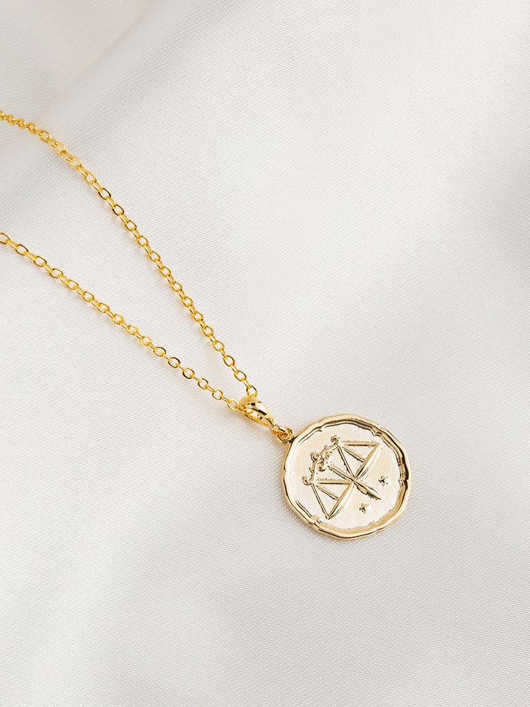 Load image into Gallery viewer, Zodiac Coin Gold Pendant