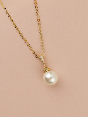 Classic Pearl Gold Pendant | Short
