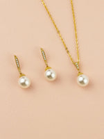 Classic Pearl Gold Jewelry Set