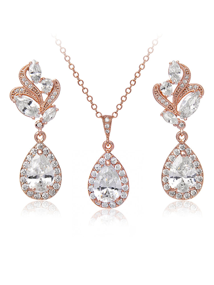 Load image into Gallery viewer, Nessa Rose Gold Jewelry Set