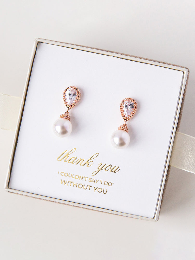 Load image into Gallery viewer, Belle Rose Gold Earrings (Bridesmaid)