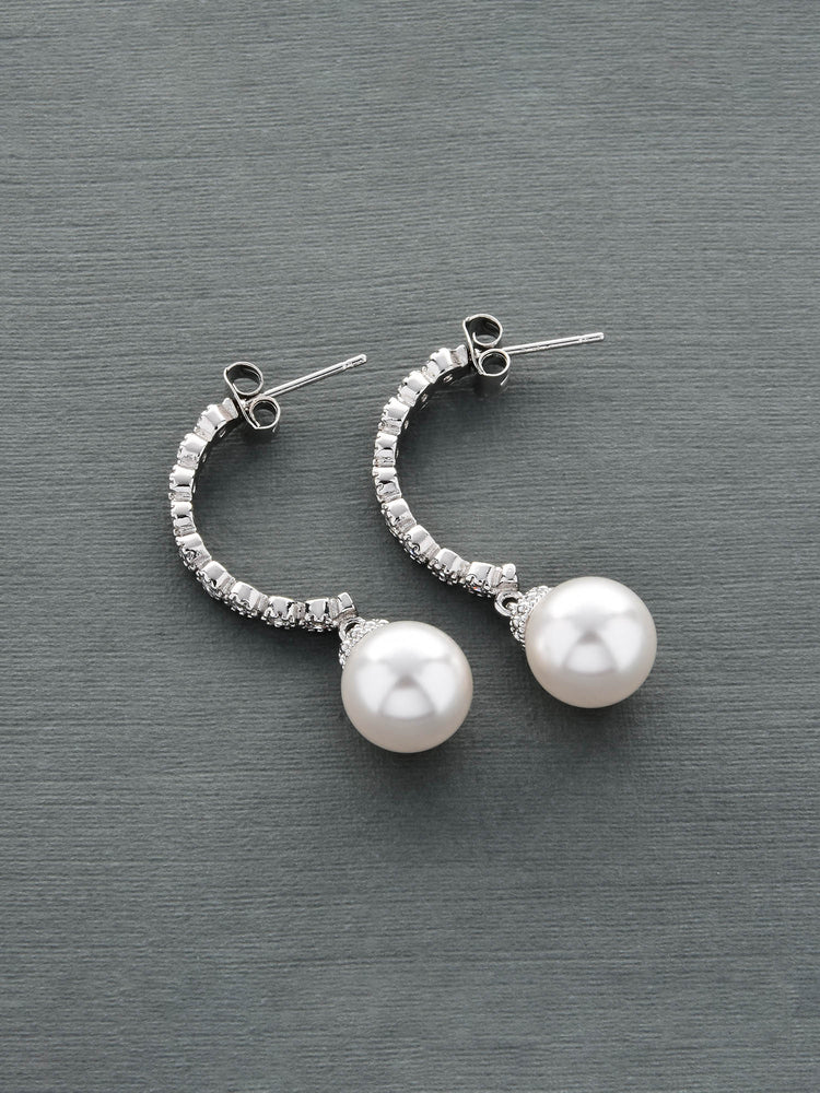 Halfmoon Pearl Earrings