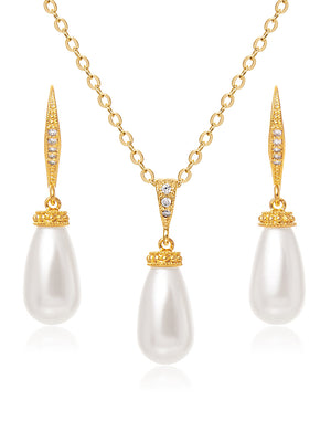 Classic Teardrop Gold Jewelry Set