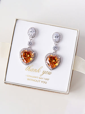 Load image into Gallery viewer, Champagne Heart Earrings