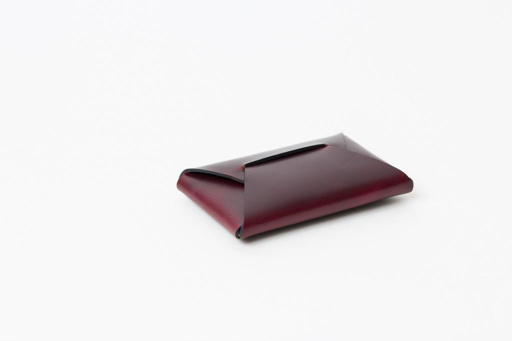 Horween oxblood leather stitchless card wallet made in Toronto by Apogee