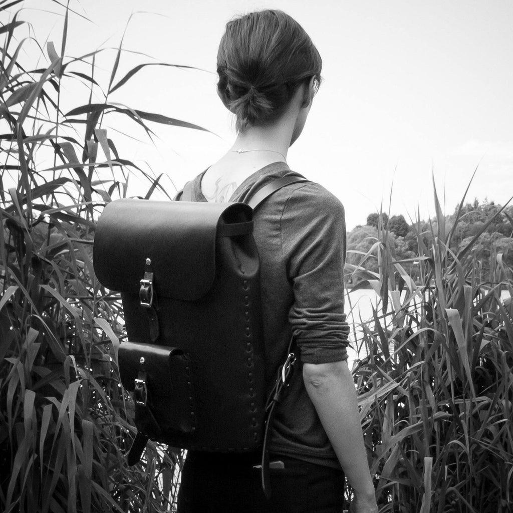 Black english bridle leather backpack made in Toronto by Apogee