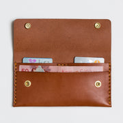Long minimalist leather wallet handmade in Canada