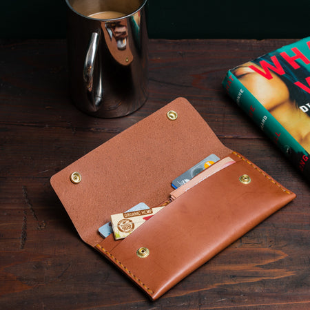 Apogee Goods Long Double Snap wallet in Teak