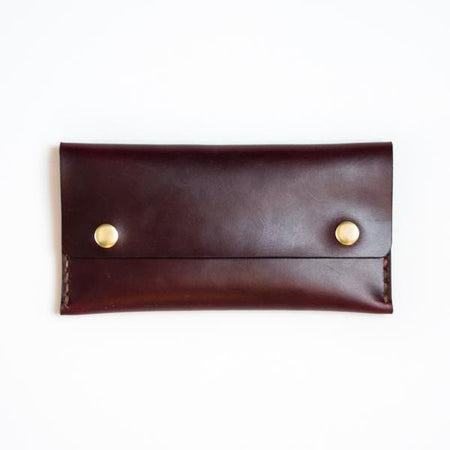 Apogee Goods Oxblood Long Double Snap Wallet. Handmade wallet made in Toronto, Canada