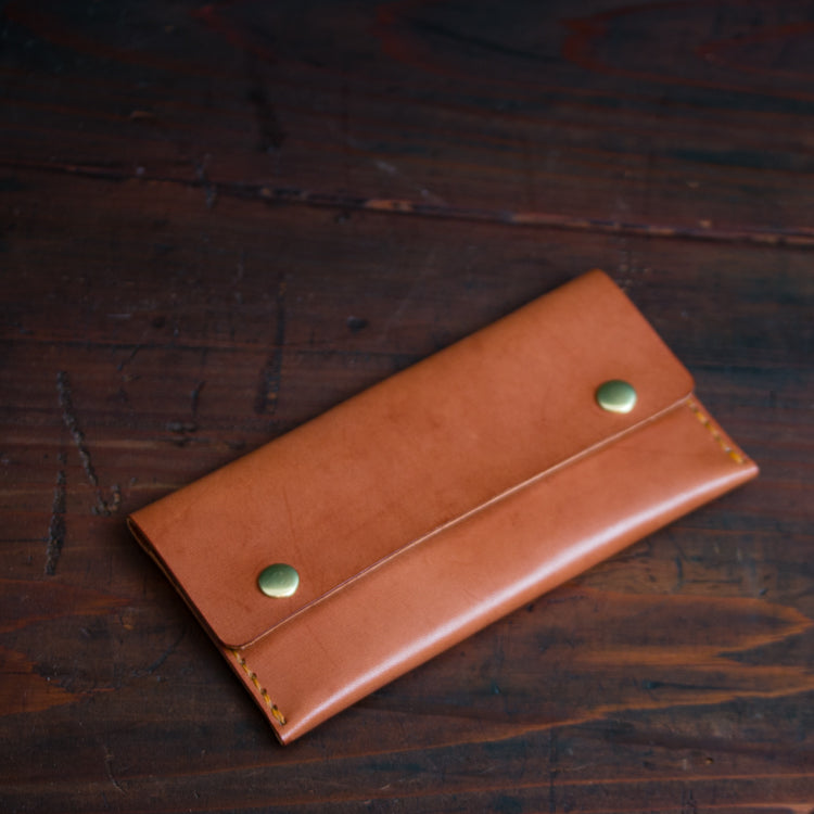 Long Double Snap unisex leather wallet