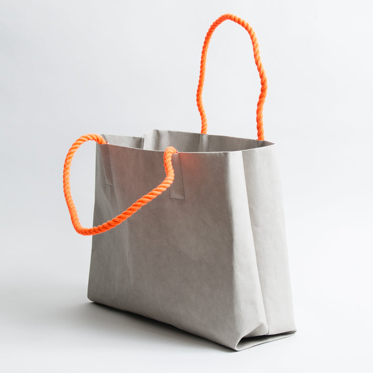 Washable Paper Tote - Grey/Bright Orange