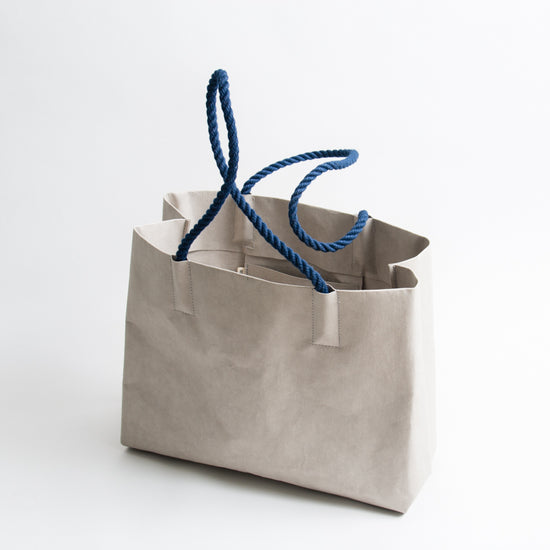 Washable Paper Tote - Grey/Navy