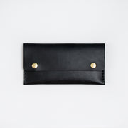 Long black wallet handmade with Wickett and Craig leather