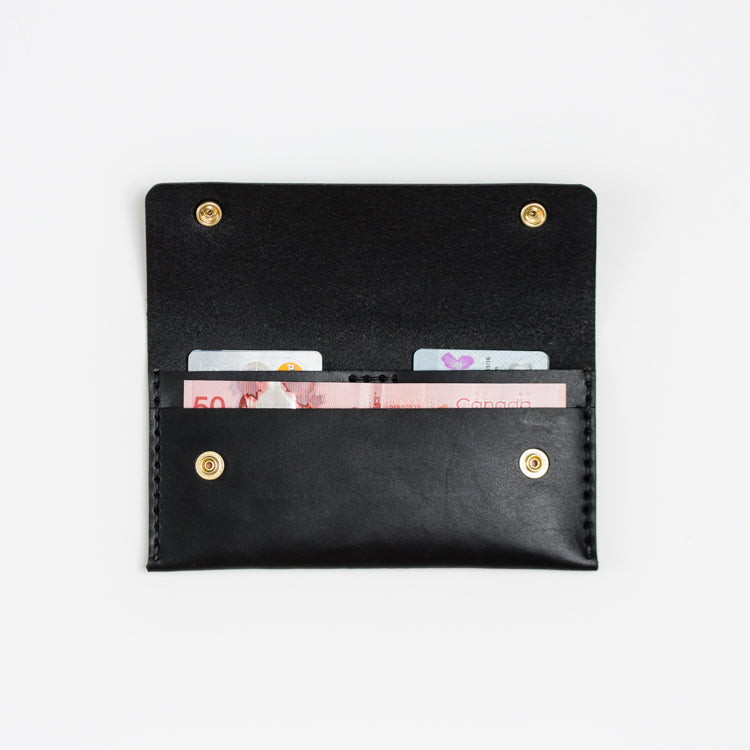 Mens and womens long black leather wallet handmade in Toronto