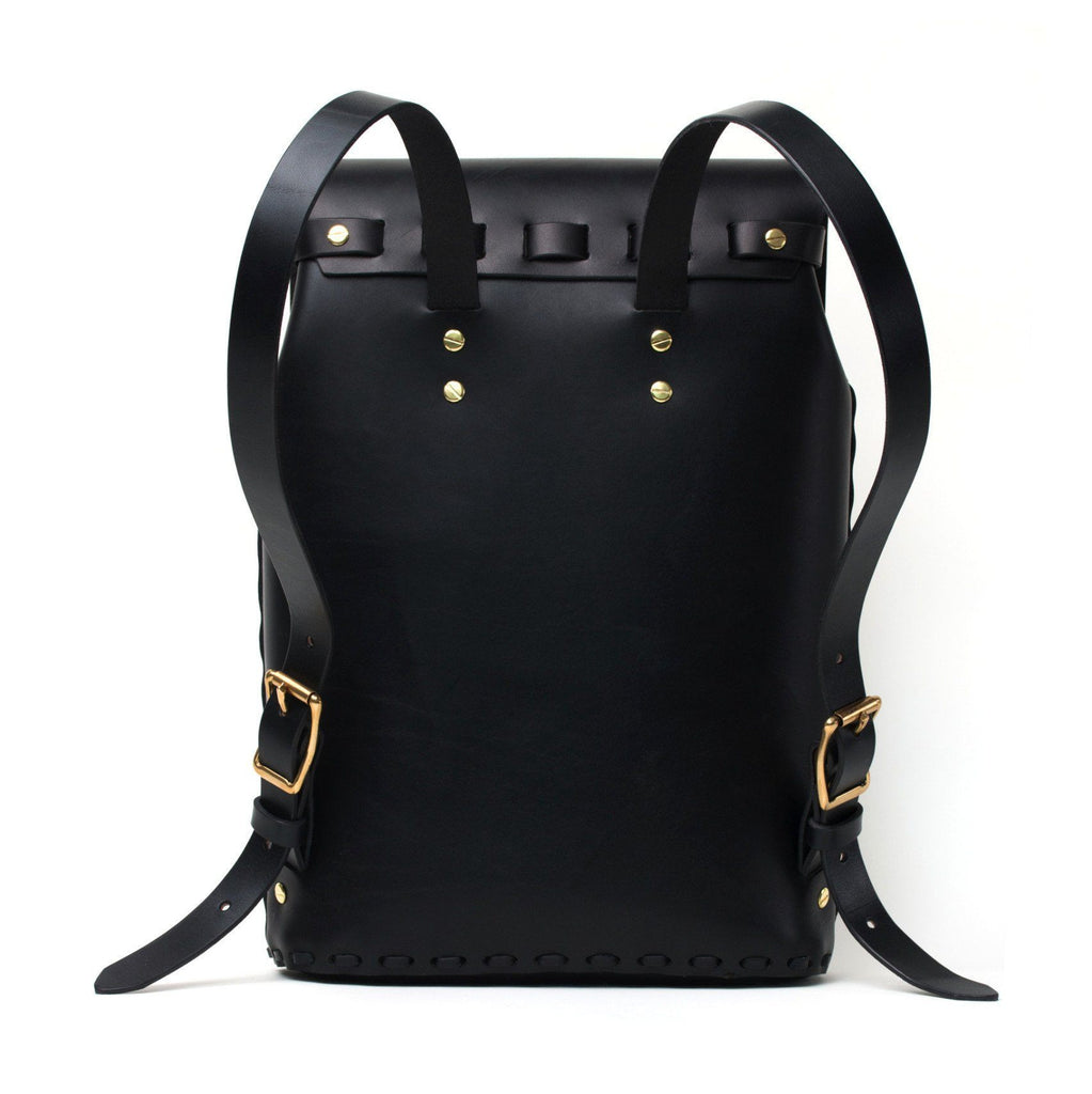 Black english bridle leather rucksack made in Toronto by Apogee