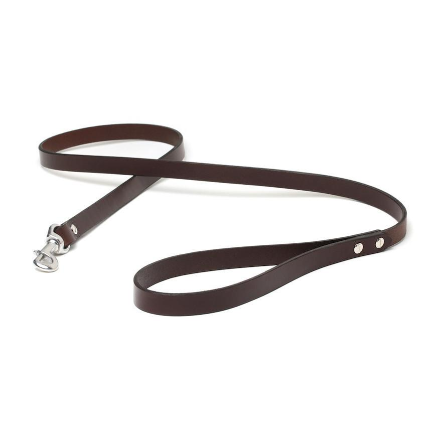 Handmade brown Italian leather leash