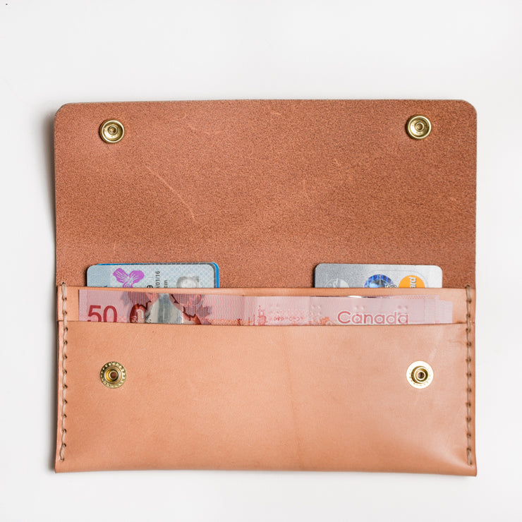 Long Double Snap Wallet - Natural