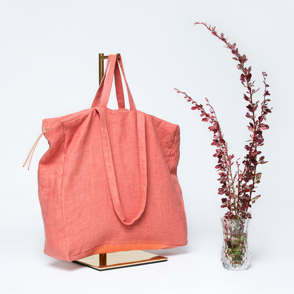Linen Box Tote - Blush