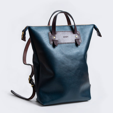 AG Zipper Backpack - Navy/Dark Brown