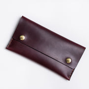 Oxblood Double Snap Leather Wallet handmade in Toronto Canada