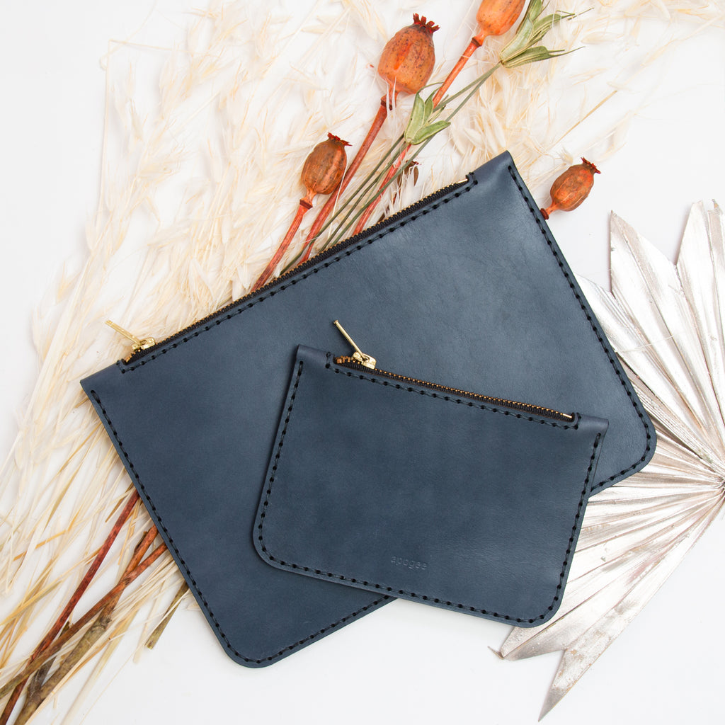 Small Zip Pouch - Steel Blue