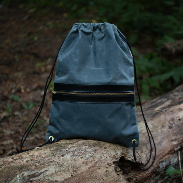 Drawcord Backpack - Waxed Slate