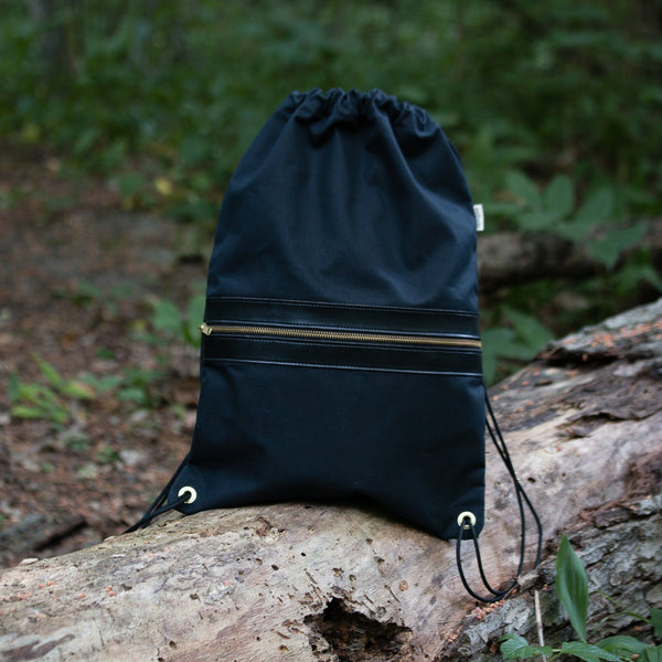 Drawcord Backpack - Waxed Black