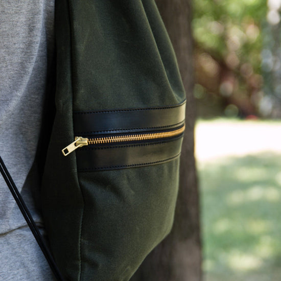 Drawcord Backpack - Waxed Olive - Apogee Goods