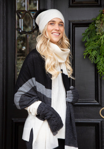 Cashmere Classic Striped Wrap and Scarf