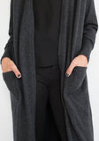 Long Cashmere Cardigan Charcoal