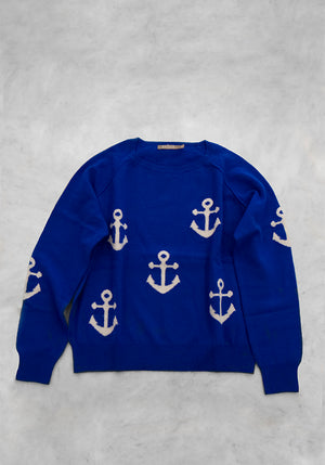 Women's Anchor Sweater by Brodie Cashmere - In Royal Blue