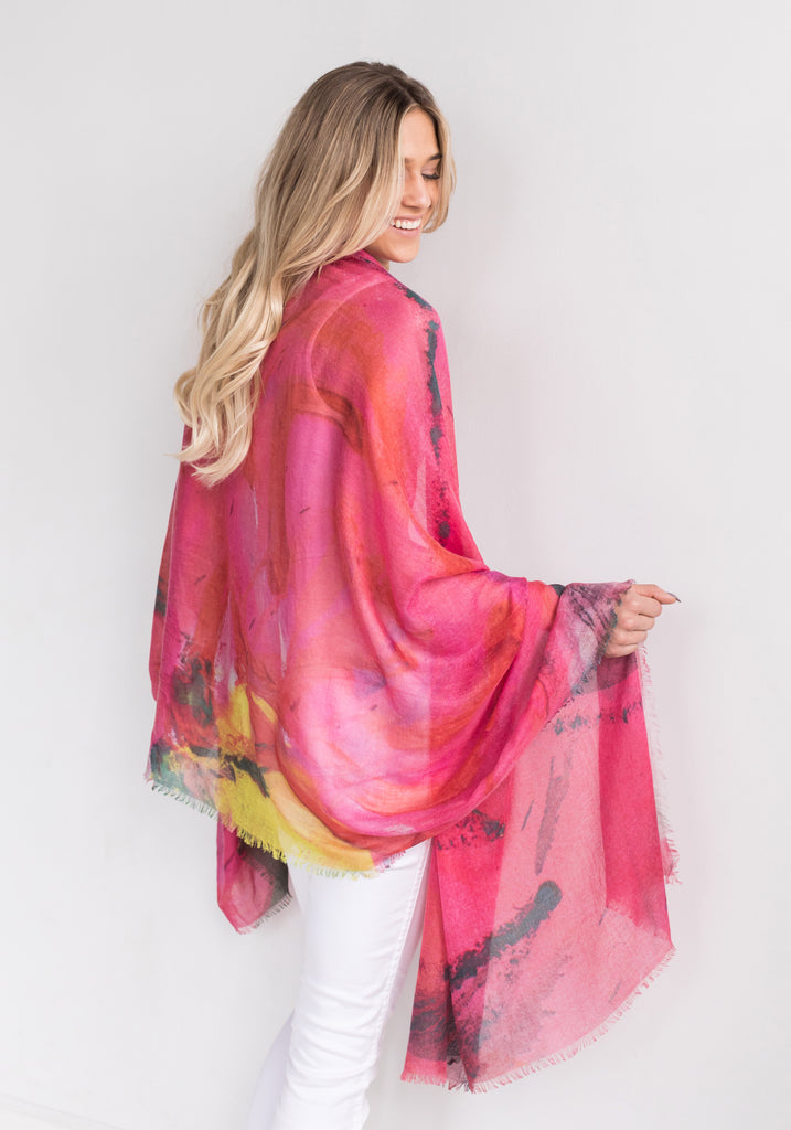 Cashmere and Silk Blended Scarf - Thrush Holmes - Pink with Yellow and Grey