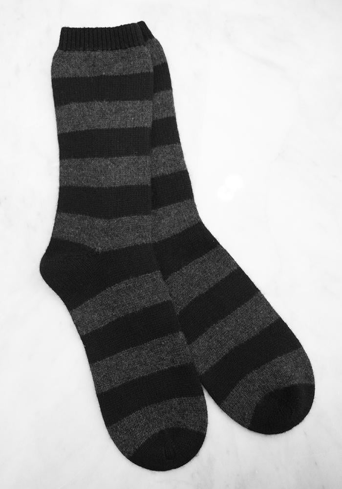 Cashmere Striped Bad Socks - Charcoal and Black