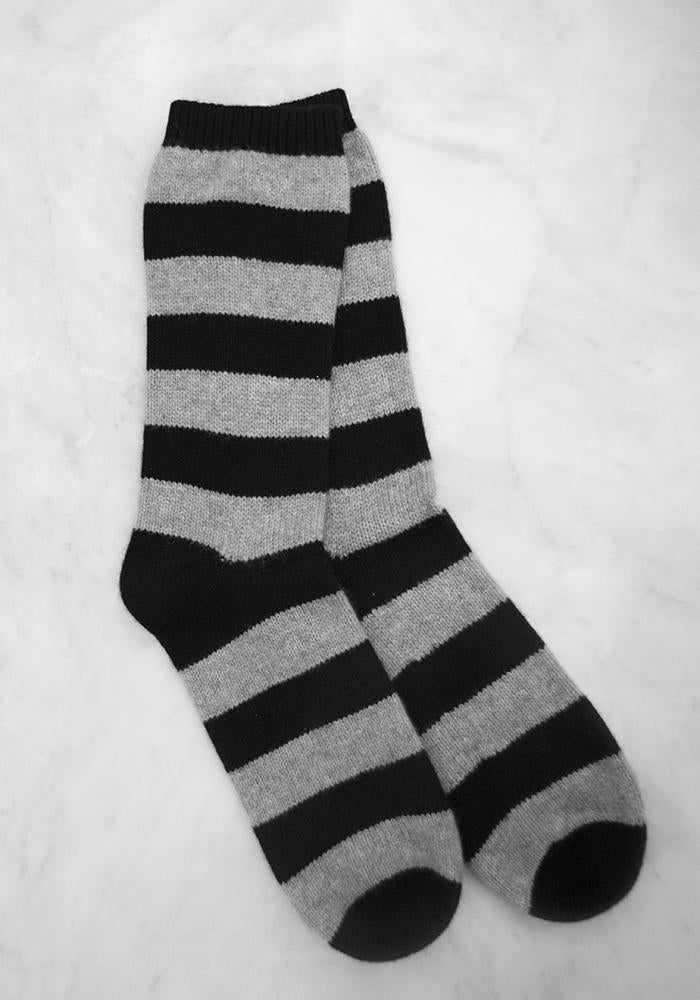 Cashmere Bed Socks, Light Grey & Black