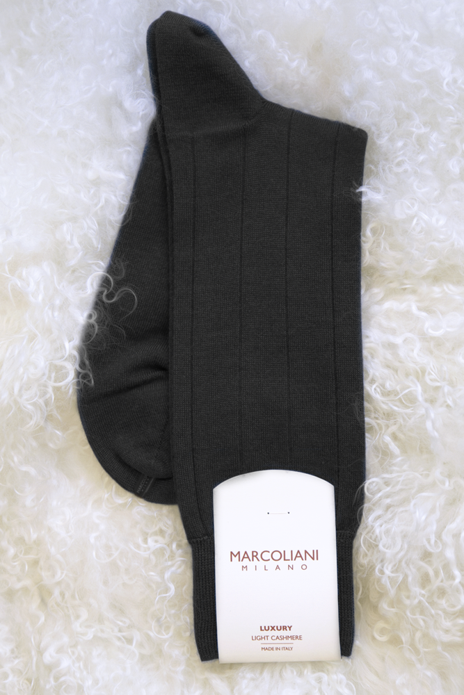 Men's Light Cashmere Ribbed Sock - The Cashmere Shop