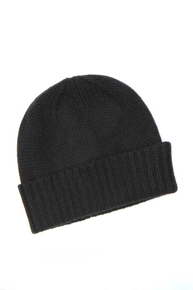 Heavy Ribbed Hat, Black - 100% Cashmere