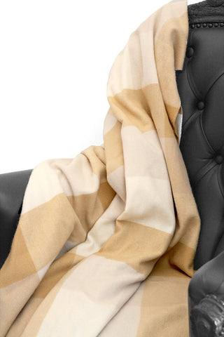 Box Plaid Camel Cashmere Blanket