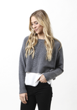 Cropped Round Neck With Cable - The Cashmere Shop  - 2