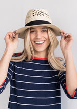 Navy Blue Nautical Dress with White Stripes and Orange Detail - Shirt Dress - Boutique Toronto, summer Collection