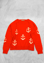 Women's Anchor Sweater by Brodie Cashmere - In Orange - Red