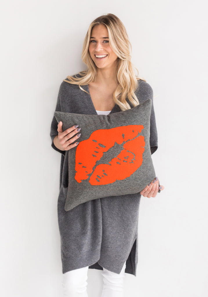 Cashmere Kiss Pillow by Brodie - Grey with Neon Orange Motif - For The Home