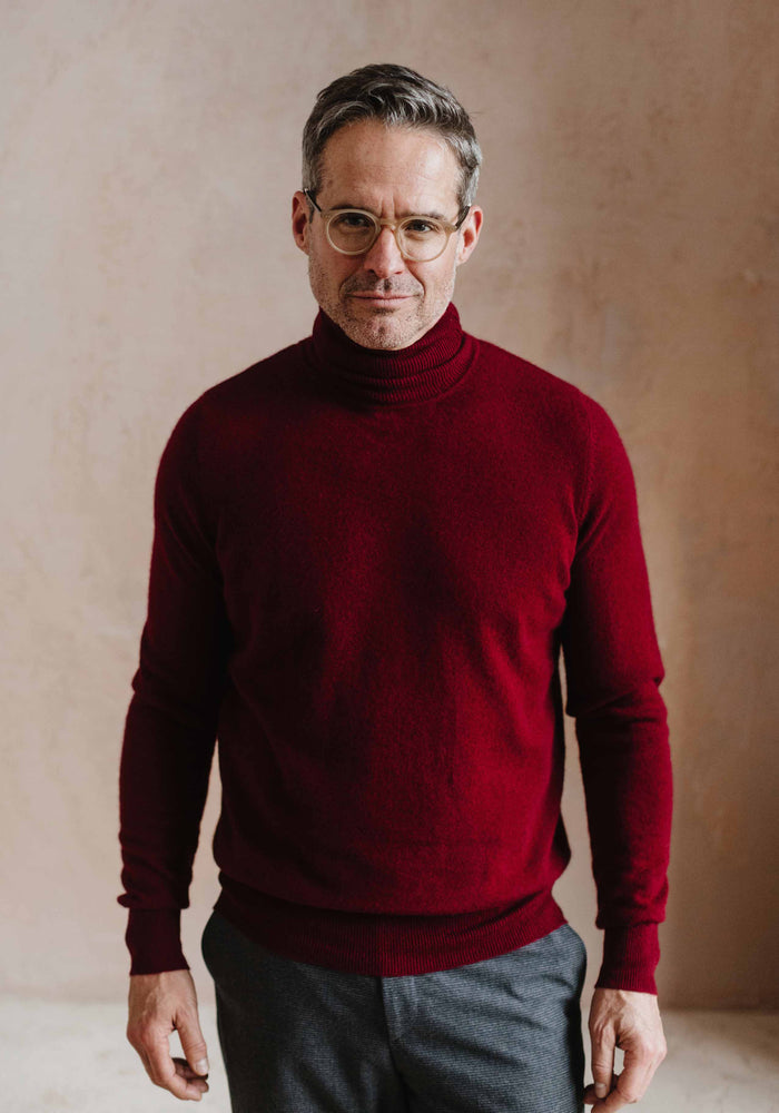 Men's Cashmere Turtle Neck, Burgundy