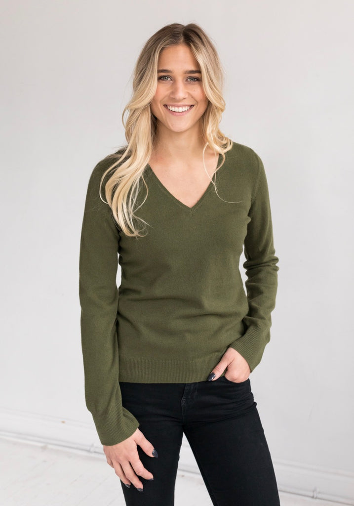 Olive Green V Neck - Cashmere on Sale, Yorkville, Toronto