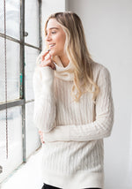 Women's Cashmere Cable Sweater with Ribbed Cowl, White - 100% Mongolian Cashmere